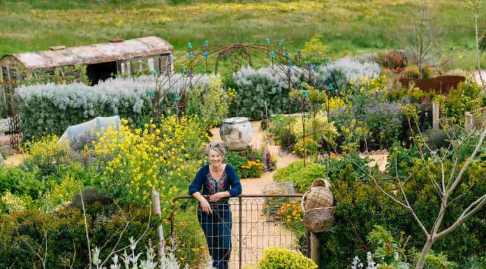 woman leaning on gate in garden