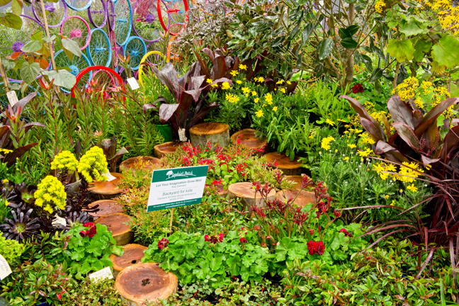 colourful garden with log stepping stones