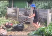 boy mowing mulch
