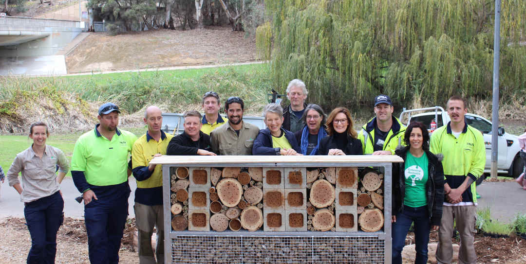native bee hotel with builders