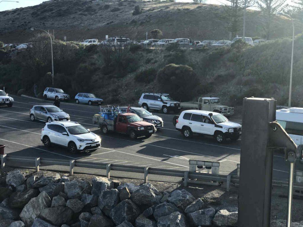 cars gettign ready for ferry